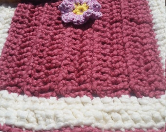 Rose Bud! Hand Crochet Blanket/ afghan baby/toddler/girl/flower