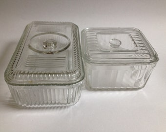 2 Clear Glass Refrigerator Dishes