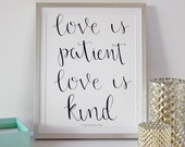 Love is Patient Hand-lettered Print