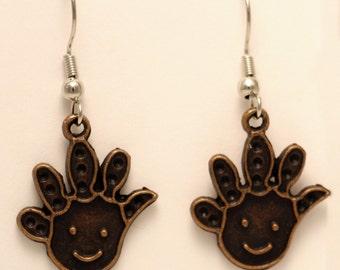 Cute Smiley Face Hand Earrings