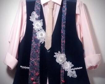 Embellished Vintage Man's Navy Vest Repurposed into Women's Vest