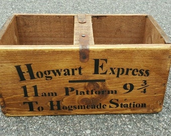Antique Vintage Hogwarts Express Harry Potter Wooden Boxes Crates.Medium Size