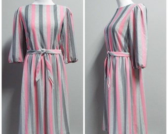 Vintage 80s Lucky Barbara Pink and Gray Striped Dress | Size M