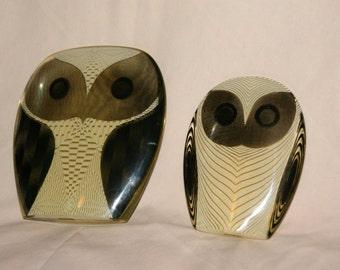 Pair of Translucent Acrylic Owls