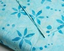 Aqua Blue Batik Fabric by 1/4 Metre, Fat Quarter, Quilting Cotton, Indonesian Batik, Handcrafted Cantik Batik Inspirations Daisies