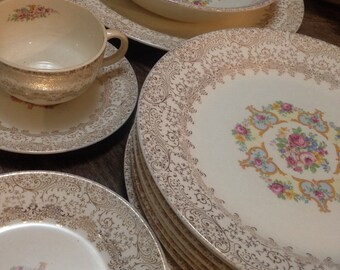 35 Piece Vintage 1940's Sebring Ohio Union Made Royal China with 22k Gold Floral Design
