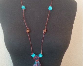 Leather and Wood Beaded Necklace