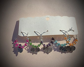 Butterfly glass charm set