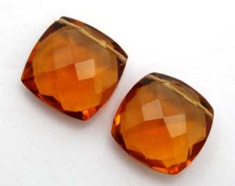 2 Pcs 1 Match Pair 18x18 mm Beer Quartz Faceted Square Briolettes, Jewelry Making, BR156