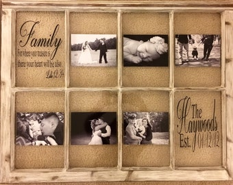 window picture frame 8 pane rustic distressed antique window customized saying and family name - Window Pane Picture Frames