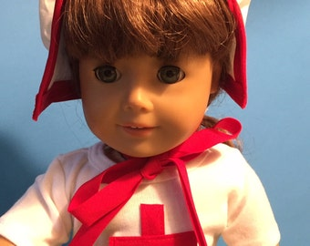 "18"" doll costume/ Clara Barton/ Civil War Nurse/ Outfit/ Bonnet, shirt and skirt"