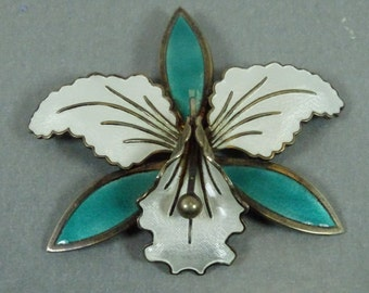Aksel Holmsen Sterling Silver/Enamel Orchid Brooch