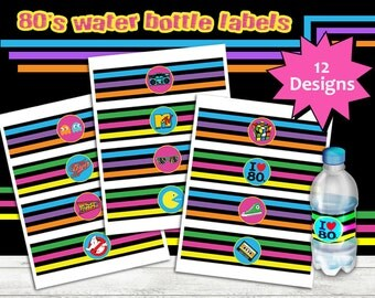 80's Water Bottle Labels, 80s Party, 80s Printable Bottle Labels
