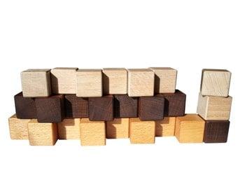 Building cubes - 24 blocks in wood - 3 colors