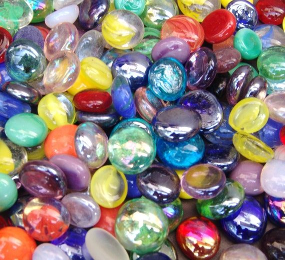 Mixed colors glass gems stones mosaic pebbles