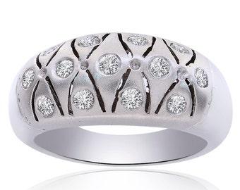 0.65 Carat Round Cut Diamond Satin Sleek Ring 14K White Gold