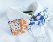mens summer bow tie cotton - blue BATIK bowtie - grooms bow tie - floral bowties - vintage bow tie - adjustable bowtie