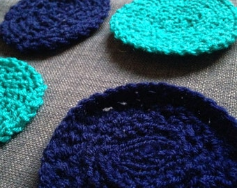 Turquoise & Navy Coasters - Hand Crocheted x 6