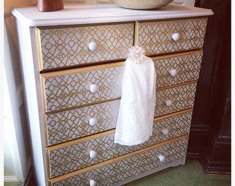 Unique Chalk Painted Paloma & Gold Detailed Hand Painted Upcycled Drawers