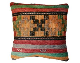 "Vegetable Dyes Vintage Handwoven Turkish Kilim Pillow Cover Kilim Cushion Cover 17"" x 17"" Homedecor Pillows Throw Pillows Accent Pillows"