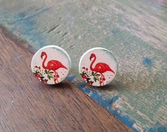 Wooden flamingo earrings 16mm