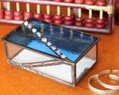 Blue Glass Angled Box