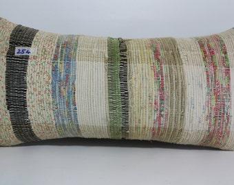 Striped Kilim Pillow 12x24 Anatolia Turkish Kilim Pillow 12x24 Turkish Kilim Pillow,Decorative Pillow,Boho Pillow,Bed Pillow SP3060-254