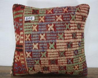Throw Pillow 16x16 Couch Pillow Decorative Kilim Pillows 16x16 Kilim Pillow 16x16 Kelim Rug Pillow Cover Pale Kilim Cushion Cover SP4040-108