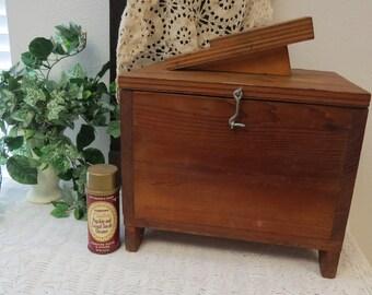 Large Vintage Wood Hand Made Shoe Shine Box-Hand Made