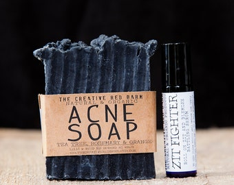 Natural Acne Treatment Gift Set ~ Activated Charcoal Clay Soap ~ Zit Fighter, detox soap, Facial Soap, Acne Spot treatment, skincare giftset