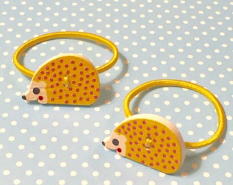 Ponytail Hair Tie Pigtail Pair of Hedgehog Girls Elastic Hair Bands Yellow for Baby Toddler Kids Children Adorable at Kisso Studio