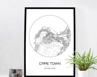 Cape Town Map Print - City Map Art of Cape Town South Africa Poster - Coordinates Wall Art Gift - Travel Map - Office Home Decor