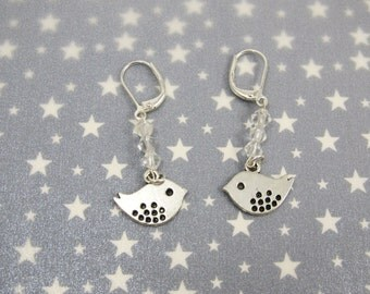Silver Bird Earring/925 Sterling Silver Leverback Dangle Earring/Clear Glass Bead