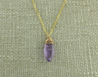 Amethyst Briolette with Gold Filled Wire and Chain