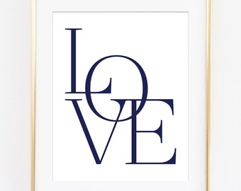 Love Print, Love Wall Art, Love Printable, Typography Poster, Navy Typography, Navy Wall Art, Love Sign, Love Art Printable, Nursery Decor