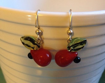 Cherry dangle glass bead hook earrings