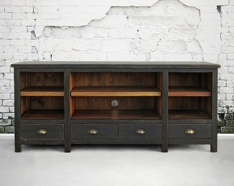 Media Console, Entertainment Console, Reclaimed Wood, Bookcase, Console Table, Handmade