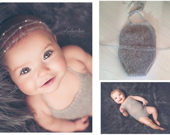 Simple Romper- newborn knit romper and tieback of mohair and pearls combined. Perfect photo props for newborn photography.