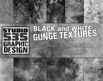 Black and White Grunge Overlay Texture Pack