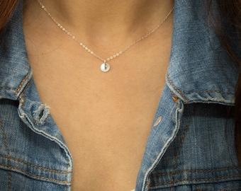 Tiny Silver Disc Necklace, Dainty Silver Necklace, Initial Silver Necklace, Delicate Silver Necklace, Everyday Jewelry, Dainty • NDV6