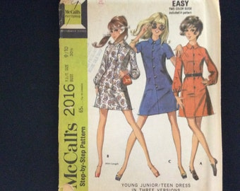 UNCUT Vintage Pattern, Sewing Pattern, 1960's Pattern, McCall's 2016, Junior Teen Pattern, 1969 Pattern, Dress Pattern, Size 9/10 30 1/2