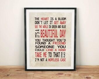 U2 - Beautiful Day - Lyrics - Digital Print - Instant Download