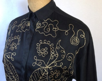 1980s black silk gold embellished blouse by helene sidel for b and n fashion group