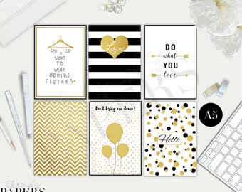 Printable A5_KIKKIK large_Franklin Covey  dividers GOLD & BLACK style