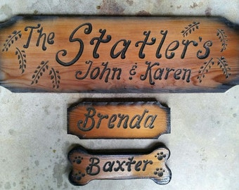 Handmade Personalized Custom Carved Leaves Carved Cabin Wood Sign, Made to Order