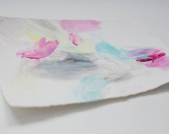 Small Abstract Drawing on Paper with Turquoise, Magenta, and Gray
