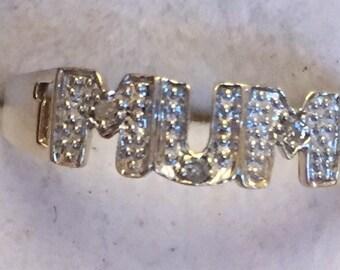 9ct gold diamond MUM ring