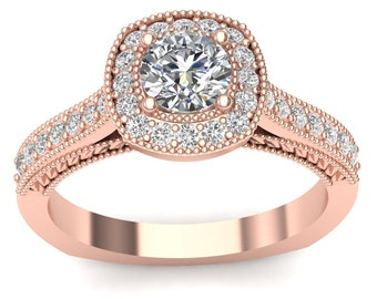 Rose Gold Engagement Ring Bead Halo Ring 0.32ct Round Diamonds, 0.50ct Round Center Semi Mount Brand New 14K Setting Only