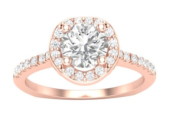 Rose Gold Halo Engagement Ring Wave Halo 14K Gold 0.25ct Round Diamonds Semi Mount for 0.75ct Round Center or 0.50ct Round Center Setting