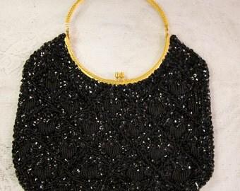 Vintage Black sequined evening bag with gold trim